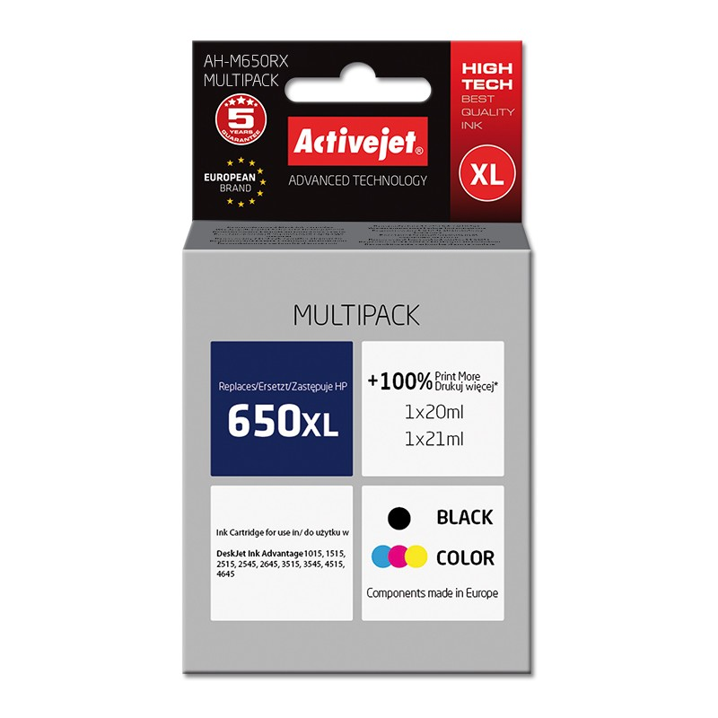 Compatible Inks HP 650xl Black  CZ101AE and HP 650xl Color CZ102AE